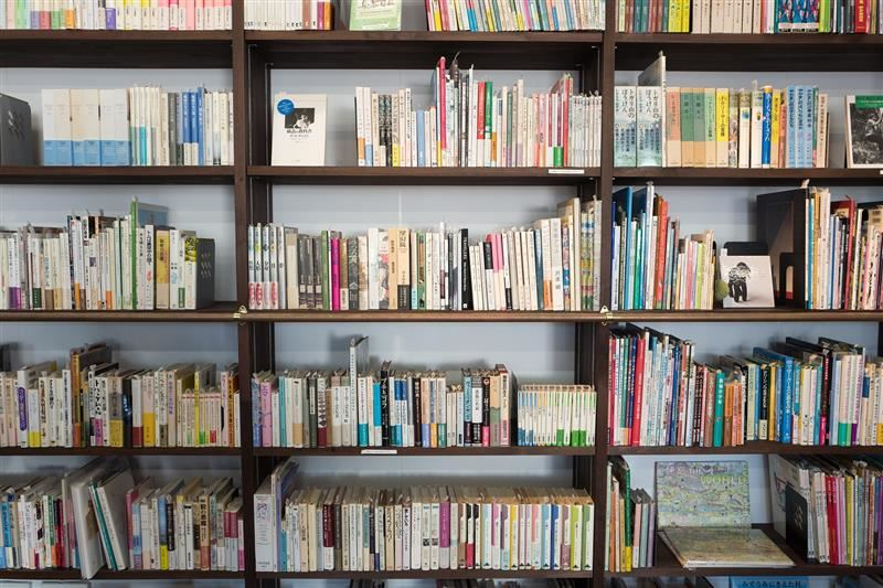 image of books on library shelves