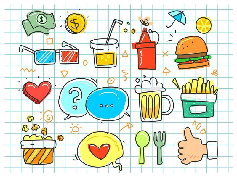 colorful doodle of food choices