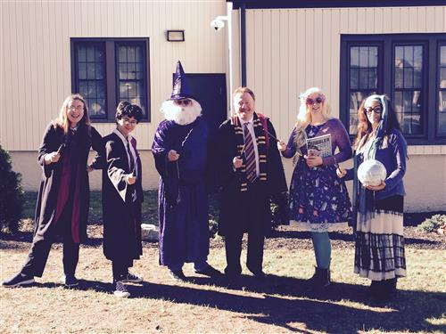 Photo of teachers dressed up at Harry Potter characters