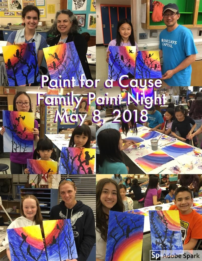 Collage of parents and students from Paint Night event