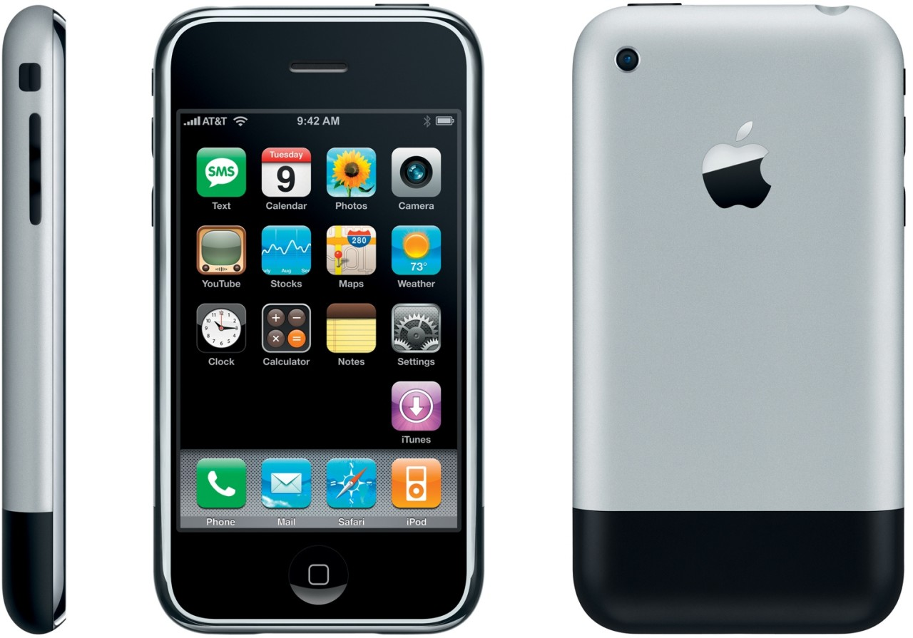 Image of side view, front view, and rear view of iPhone