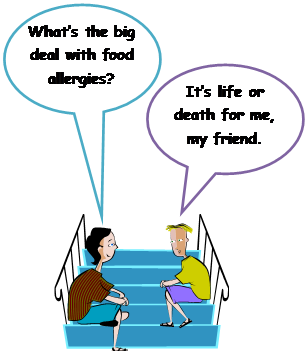 Cartoon of two students discussing the importance of allergies
