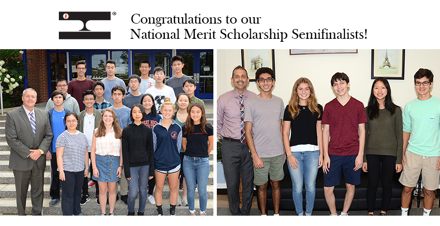 Two photos of our National Merit Scholarship Semifinalists and their school principals