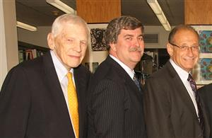 Photo of Former Superintendent Bill Shine with Superintendent Tom Dolan and Former Superintendent Ron Friedman
