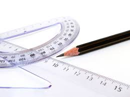 protractor, ruler, and pencil