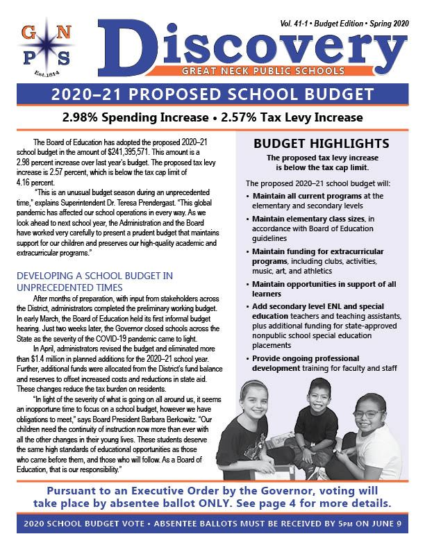 Cover of the budget bulletin.