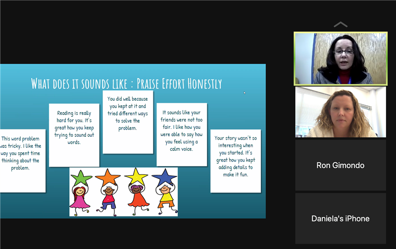 Screen shot of a Zoom webinar about building conversations and supporting children.