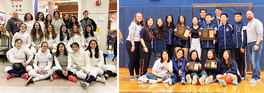 Group photos of the North High girls fencing team and the South High boys and girls fencing teams