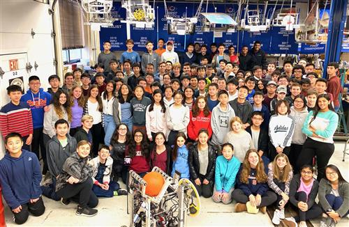 Large group photo of the South High Rebel Robotics Team