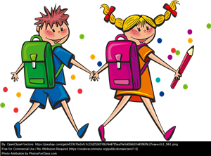 Clip art kids with backpacks