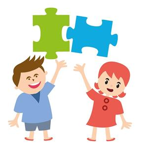 Cartoon children holding puzzle pieces