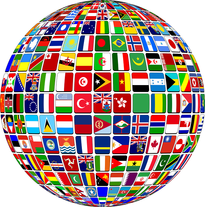 Globe covered with different countries flags