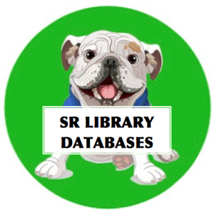 Spike the dog holding a sign that says SR Library Databases