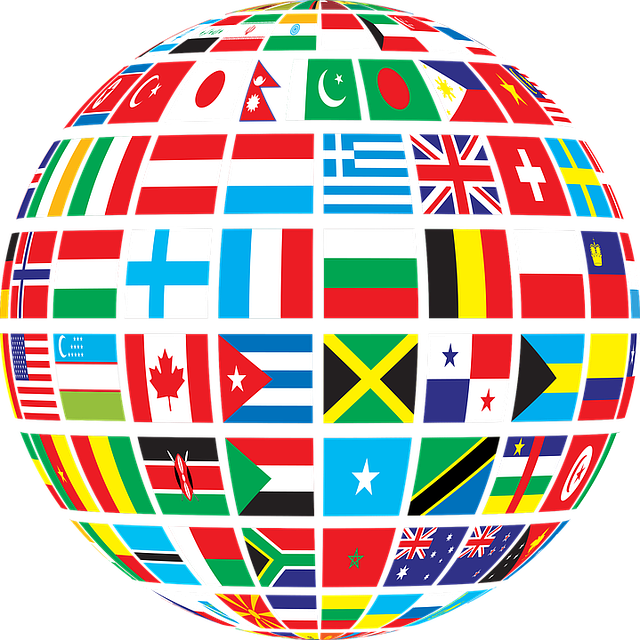 world globe with images of country flags on it