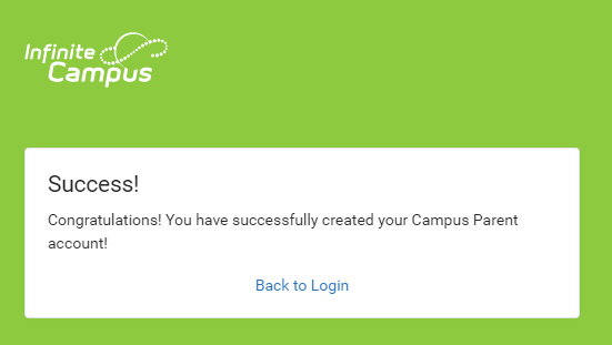 Infinite Campus account creation success page