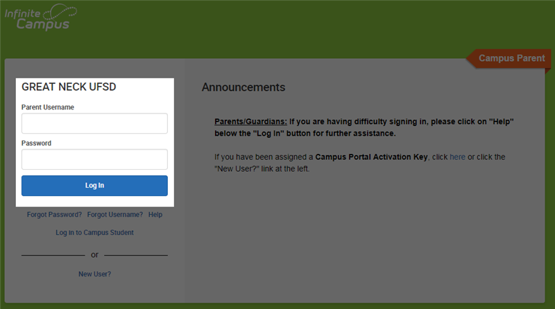 Infinite Campus log in page