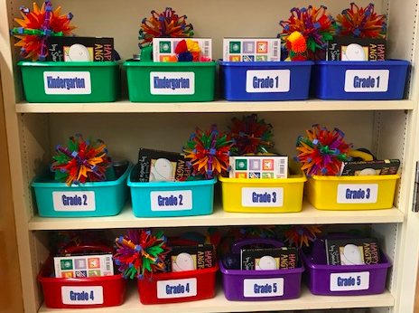 grade level  baskets with calming strategies on shelf